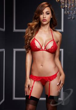 Red Lacy Bra and Garter Set Clothing